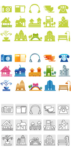 villas telephone rainbow Many-storied buildings lamps houses fountain earphone digital camera computer coffee cup chairs buildings benches
