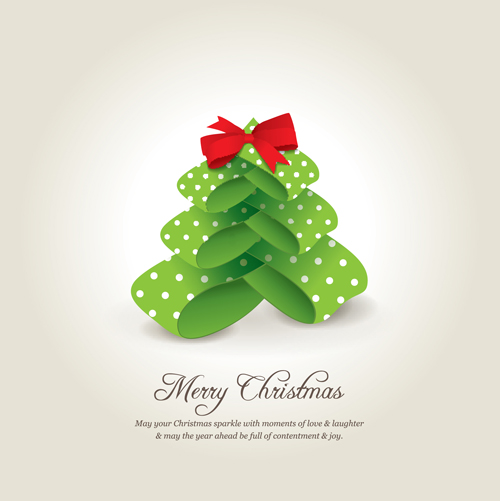 Beau Creative Xmas Tree Christmas Cards Vector 04