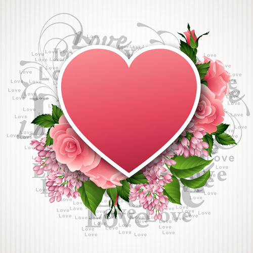 Pink flower with heart shape valentine day cards vector 05 welovesolo valentine day valentine shape pink flower cards mightylinksfo