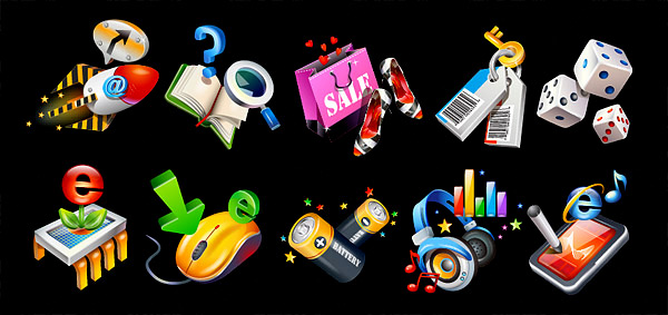volume stars solid arrows shopping bags shoes search sale rocket question mark PDA notes music magnifying glass keys IE help headphones e dice computer mouse computer chip books battery bags arrow