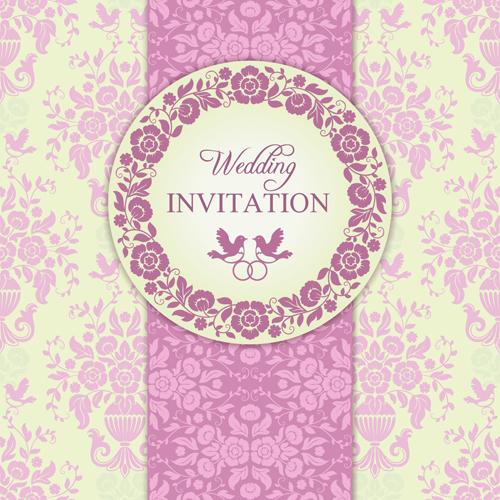 Ornate pink floral wedding invitations vector 03 welovesolo ornate pink floral wedding invitations vector 03 stopboris Gallery