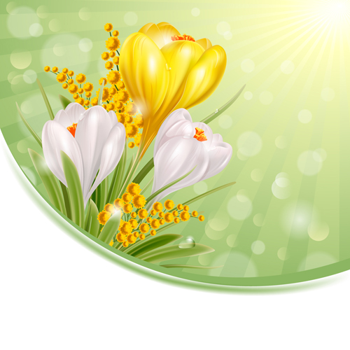 yellow white shiny flowers background