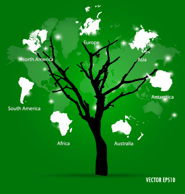 World map tree vector material 02 welovesolo world map world tree map gumiabroncs Image collections