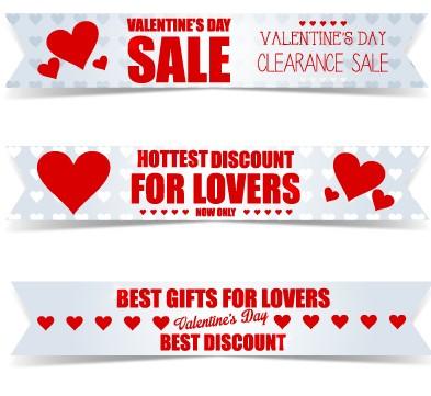 valentine day big sale vector banners set 03