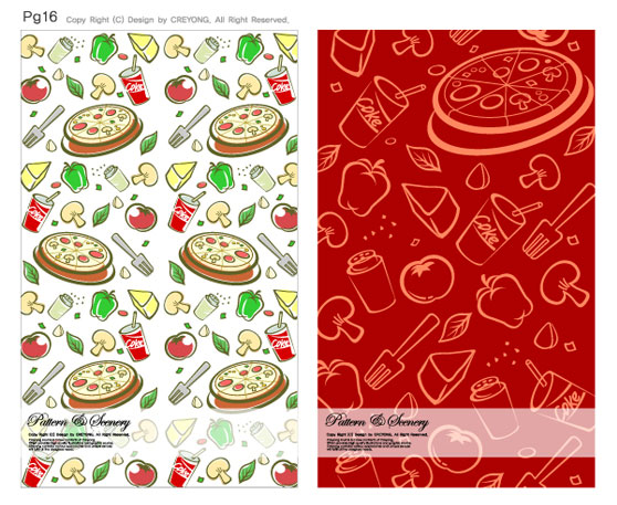 vegetables tiled seasoning pizza lovely fork food continuous cartoon beverage