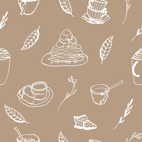 seamless pattern vector pattern hand-draw hand drawn coffee cake