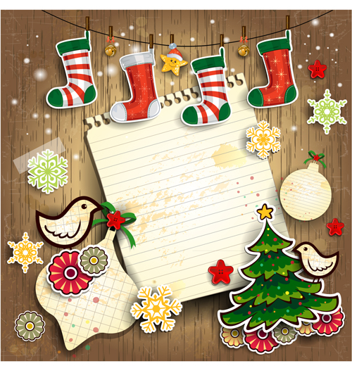 christmas cute greeting cards design vector 06