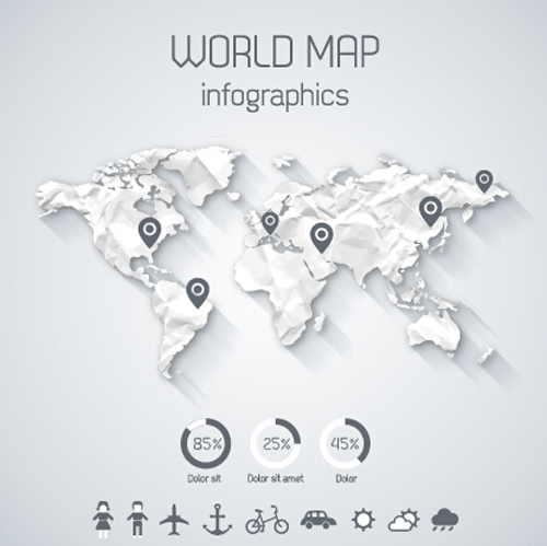 Creative world map and infographics vector graphics 03 Creative world map and infographics vector graphics 03
