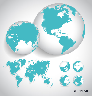 Earth and world map vector design 03 welovesolo world map world map vector earth gumiabroncs Images