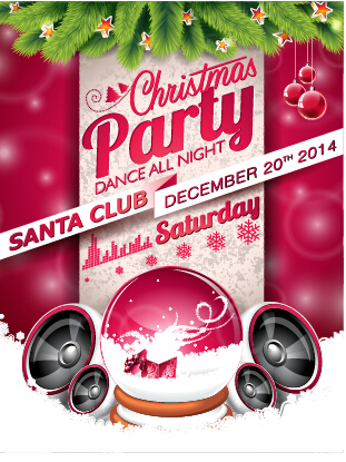 Santa Club Christmas Music Party Poster Vector 01 Welovesolo