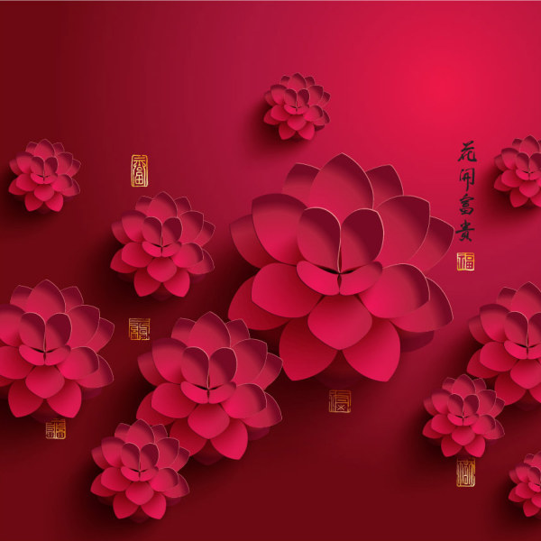 peony paper design background