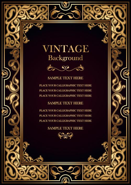 Set of Vintage frame background vector 03 - WeLoveSoLo