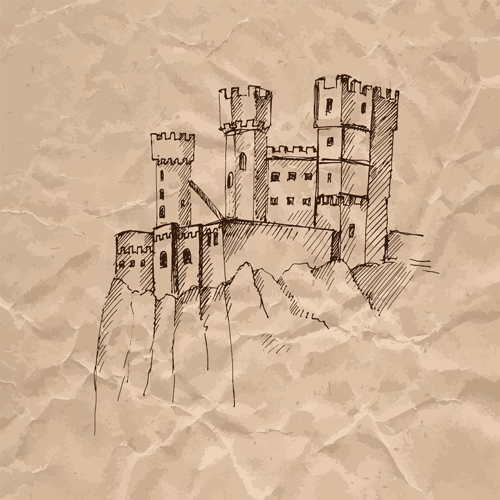 medieval hand drawn Crumpled paper crumpled buildings