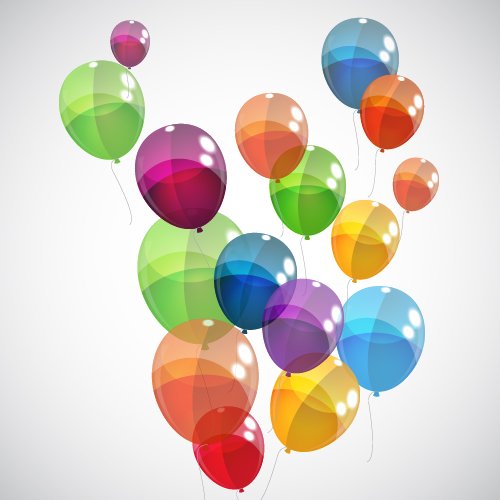 transparent colored balloons background