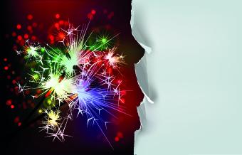Works paper Fireworks christmas background vector background
