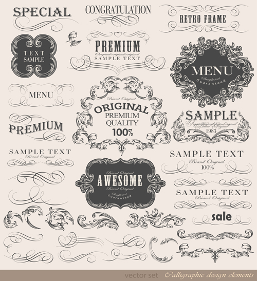 Vintage frame ornaments and calligraphic vector set - WeLoveSoLo