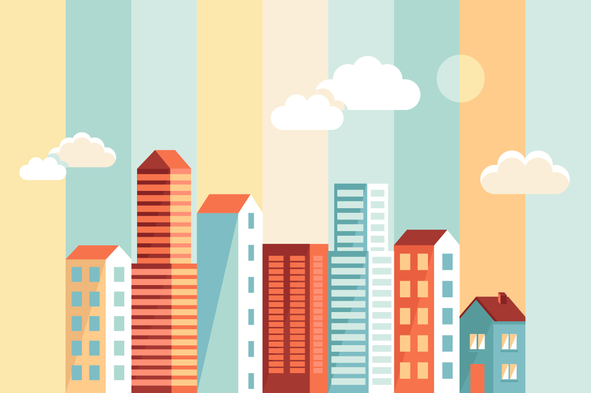 Flat City Building Vector Material 01 Welovesolo