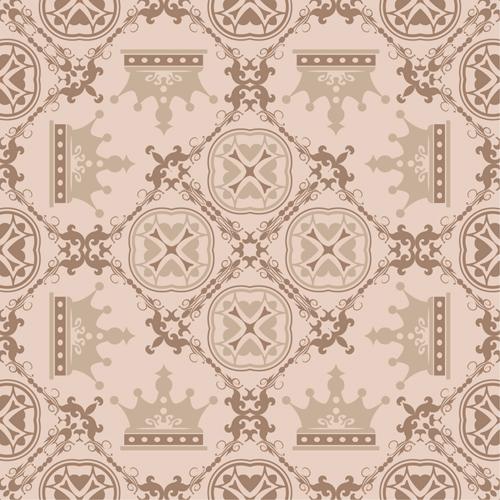 seamless Retro font pattern floral crown
