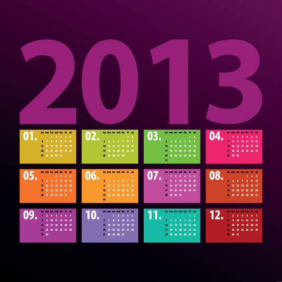 Creative 2013 Calendars design elements vector set 06 - WeLoveSoLo