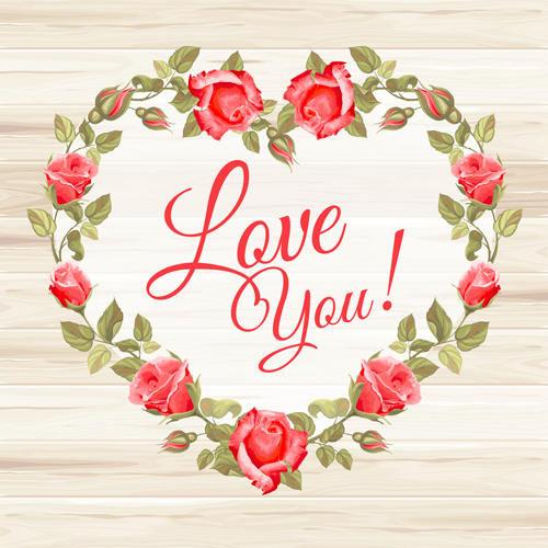 Rose frame with wedding cards vector 02 - WeLoveSoLo