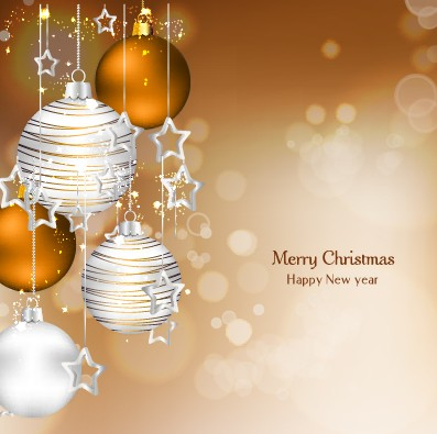 xmas shiny baubles background vector background