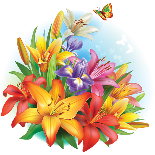 Beautiful Lilies Art Background Design 04 Welovesolo