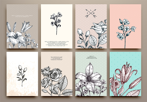 cards flowers hand drawing vector welovesolo