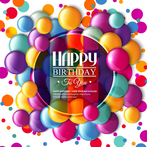Exquisite birthday card with colored balloons vector 04 WeLoveSoLo – Vector Birthday Card
