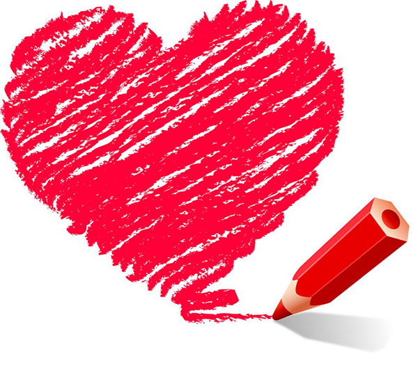 Hand Drawn Heart With Red Pen Vector