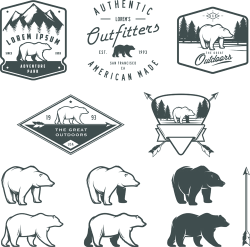 Hand drawn polar bear logos vector Hand drawn polar bear logos vector