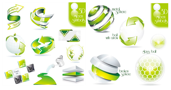 three-dimensional icon green