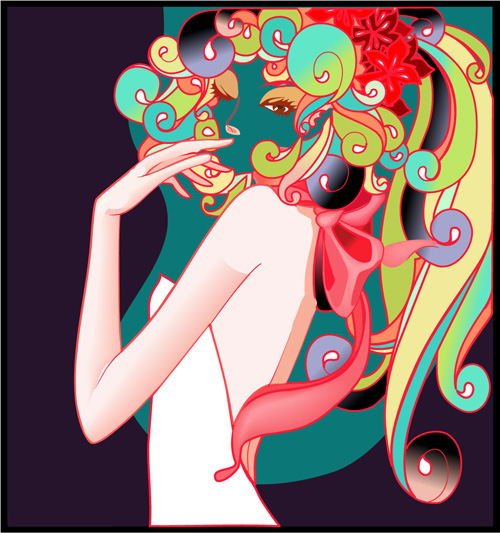 women vector library vector character festivals fashion CDR format beauty