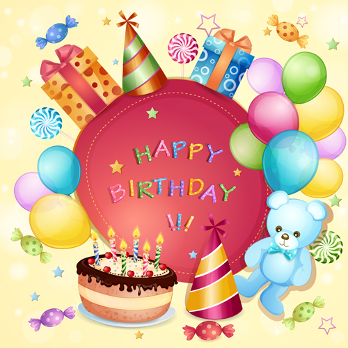 Cartoon Birthday cards design vector 02 WeLoveSoLo – Birthday Greetings Designs