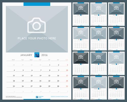 desk calendar 2016 with your photo vector 03 welovesolo