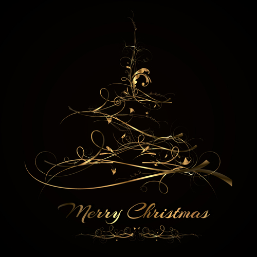 Abstract golden christmas tree background vector - WeLoveSoLo