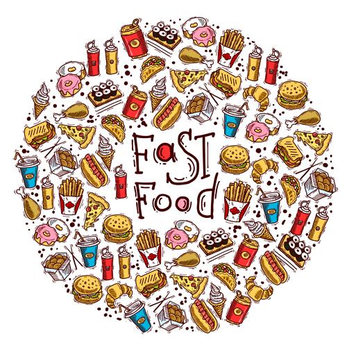 menu hand drawn fast food