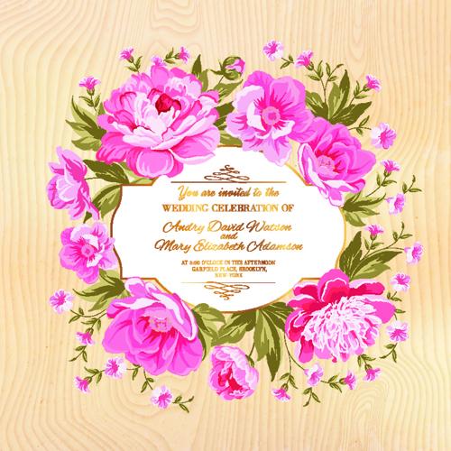 Pink flower frame wedding invitation cards 01 welovesolo pink flower frame wedding invitation cards 01 stopboris Images