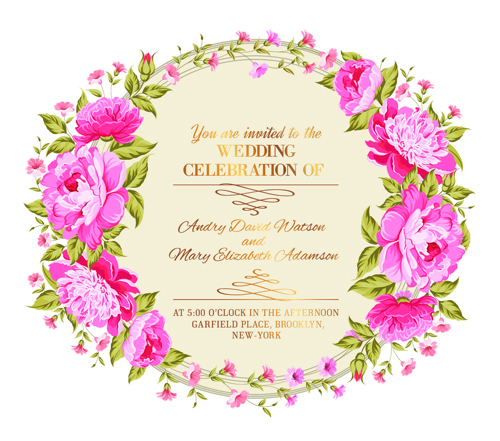Pink flower frame wedding invitation cards 02 WeLoveSoLo