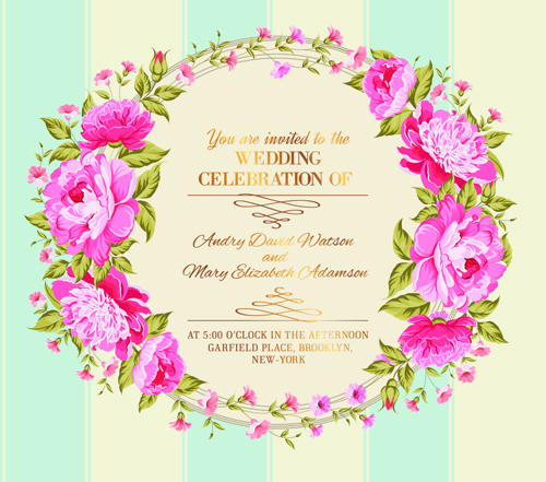 Free Vectors Down: Pink flower frame wedding invitation cards 03