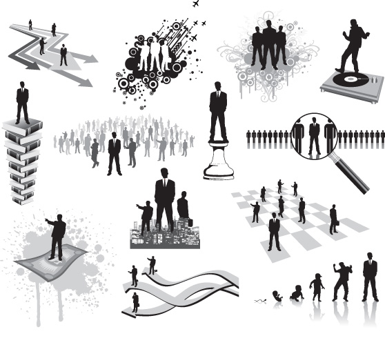 white-collar men successful people silhouette managers business people arrow