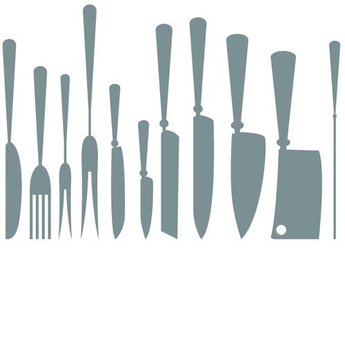 silhouette kitchen different cutlery