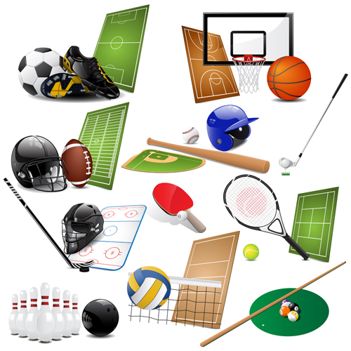 sports equipment sports icons different