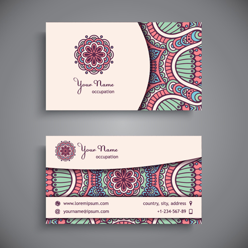 ethnic elements decorative business cards business