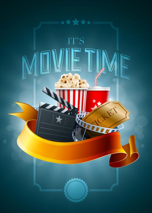Movie time poster design   Premium Vector