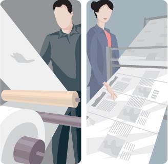 Vector printing scene printing newspaper EPS format characters