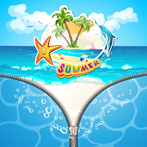 Summer Beach With Zipper Vector Background 02