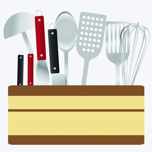 Various kitchen cutlery set vector 01 welovesolo for Kitchen set 01
