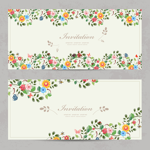 Vintage flower invitation cards vectors 02 welovesolo vintage invitation cards invitation flower stopboris Image collections