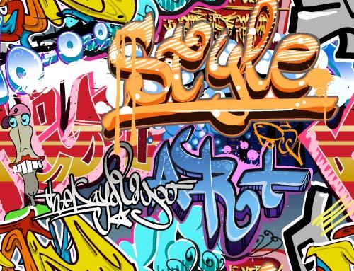 wall material graffiti design