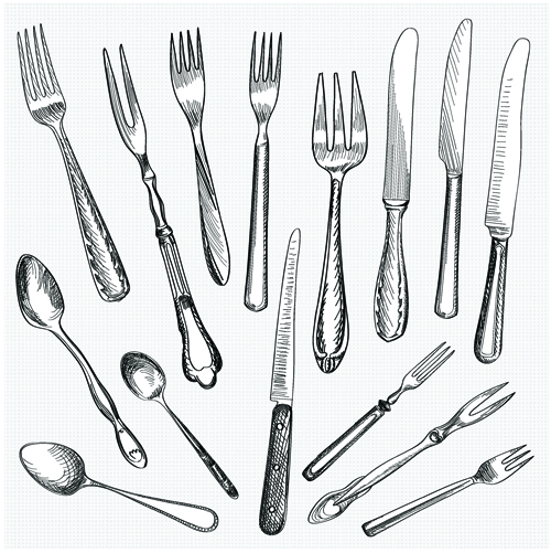 realistic kitchen cutlery